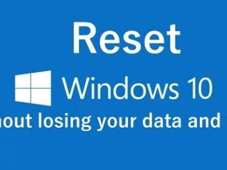 reset windows 10 wihout losing data