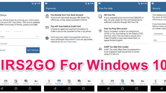 IRS2GO for PC Windows 10